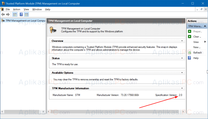 Trusted Platform Module (TPM) Management on the Local Computer