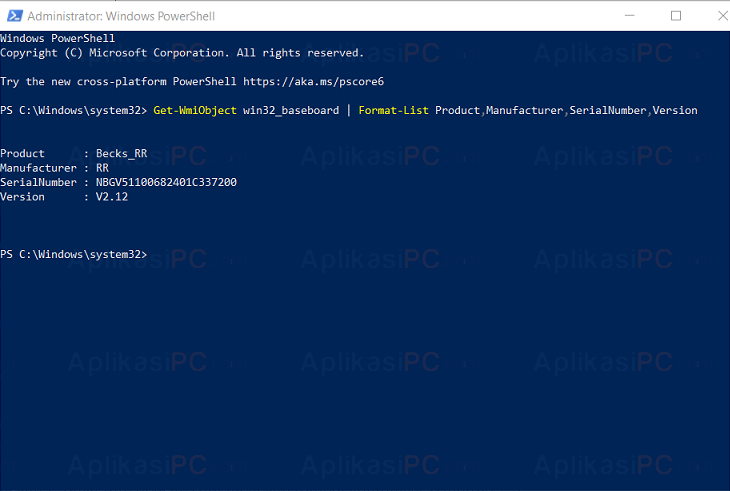 Windows Terminal - Cek Informasi Mainboard