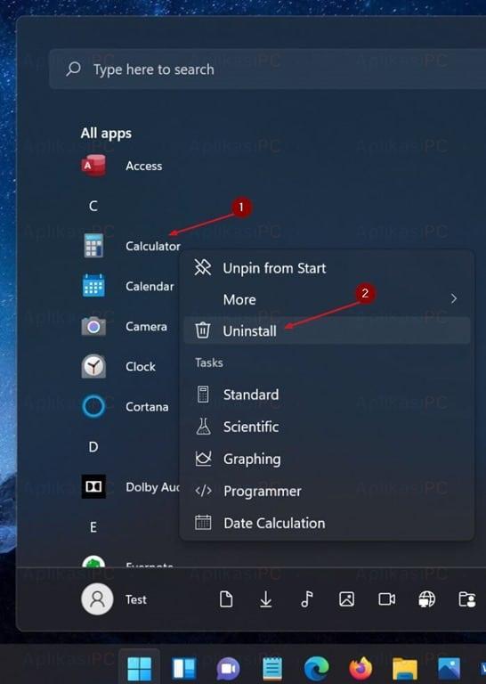 Start Menu - All apps - Uninstall